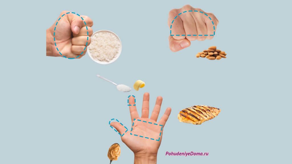 Кулак, ладони и большие пальцы помогут определить размер порции