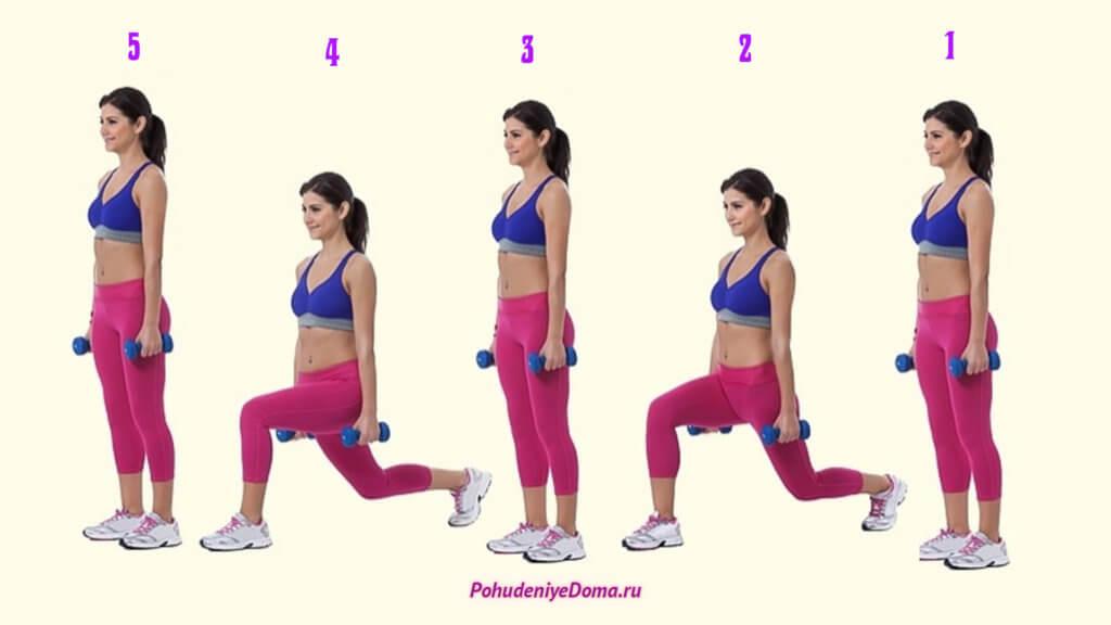 Упражнения для похудения ног. Выпады